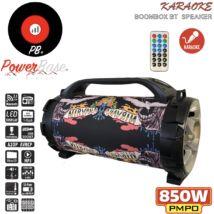 PowerBase PB/PS-0302 850W Bluetooth akkus Karaoke hordozható dupla hangfal LED kijlező, MicroSD, USB, FM rádió
