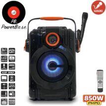PowerBase PB/PS-0305 850W Bluetooth akkus Karaoke hordozható hangfal mikrofonnal LED kijlező, MicroSD, USB, FM rádió