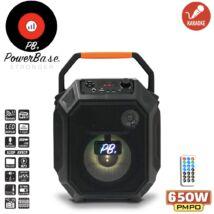 PowerBase PB/PS-0307 650W Bluetooth akkus Karaoke hordozható hangfal LED kijlező, MicroSD, USB, FM rádió