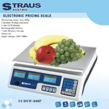 Straus ST/DST-040P 40kg-ig digitális árazómérleg kétoldali LCD kijelzővel