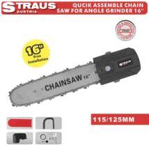 Straus ST/HT-0474 16'' 115/125mm láncfűrész adapter sarokcsiszolóhoz gyors lánc funkcióval