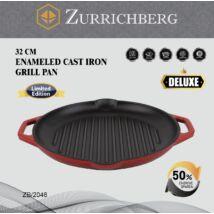 Zürrichberg ZBP2046 Deluxe - 32cm Zománcos Öntöttvas Grill Serpenyő