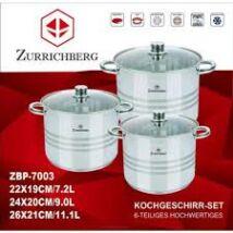 Zürrichberg ZBP7003 nagy méretű /7, 9, 11 literes/, 6 részes fazék szett, üveg fedőkkel, rozsdamentes, minden tűzhelyhez, indukcióshoz is