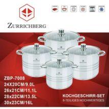 Zürrichberg ZBP7008 nagy méretű, 8 részes fazék szett, üveg fedőkkel, rozsdamentes, minden tűzhelyhez, indukcióshoz is