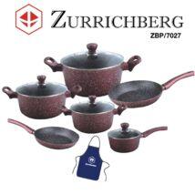 Zürrichberg ZBP7027 11 részes márvány bevonatú alumínium ötvözet edénykészlet, teljesen tapadásmentes, szilikon fogókkal, indukcióshoz is
