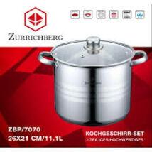 Zürrichberg ZBP7070 nagy méretű, 11,1 literes fazék üveg fedővel, rozsdamentes  k ivitel, minden tűzhelyhez, indukcióshoz is