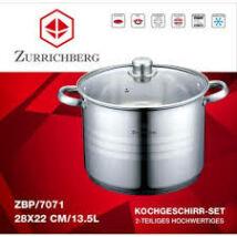Zürrichberg ZBP7071 nagy méretű, 13,5 literes fazék üveg fedővel, rozsdamentes  k ivitel, minden tűzhelyhez, indukcióshoz is