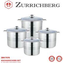 Zürrichberg ZBP7076 nagy méretű, 8 részes fazék szett, üveg fedőkkel, rozsdamentes, minden tűzhelyhez, indukcióshoz is