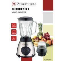 Zürrichberg ZBP7079 2 az 1-ben 1,5L-es 1000W -os üveg turmixgép és daráló, 2 teljesítményfokozattal és pulse funkcióval, jégaprításra is