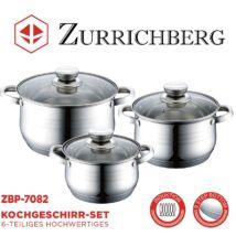 Zürrichberg ZBP7082 6 részes rozsdamentes edénykészlet, több rétegű szendvicstalppal, indukcióshoz is