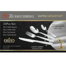 Zürrichberg ZBP7085  6 személyes, 24-db-os, ezüst mintás evőeszköz készlet elegáns díszdobozban: megfizethető minőség, praktikum, s egy csipetnyi luxus