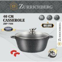 Zürrichberg ZBP7098 40cm márvány bevonatú fazék szilikon fogantyúval, hőálló üveg fedővel