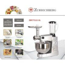 Zürrichberg ZBP7112-8L többfunkciós konyhai robotgép – dagaszt, kever, turmixol, húst darál, habot ver egyben - 1200W teljesítménnyel, 6 sebességfokozattal