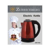 Zürrichberg ZBP7602 elektromos vízforraló, 1,5 literes,  1500 W teljesítménnyel, rejtett fűtőszállal, elegáns inox kivitelben, piros