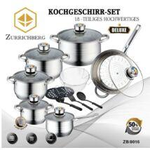 Zürrichberg ZBP8016  18 részes prémium minőségű, rozsdamentes edénykészlet, 9 rétegű, extra vastag, kapszulázott talppal, indukciós tűzhelyhez is