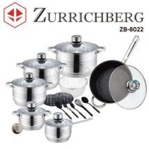 Zürrichberg ZBP8022  18 részes rozsdamentes edénykészlet, márvány bevonatú serpenyővel