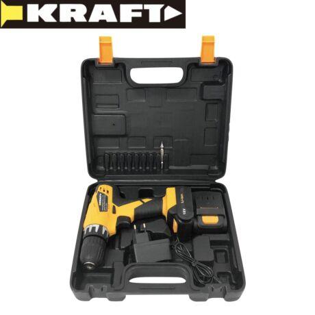 Kraft KF/CDD18-18EL 18V akkus fúró kofferrel, 2 Li-Ion akkumulátor, LED világítás