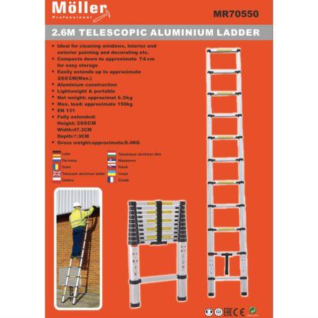 Möller MR70550 alumínium teleszkópos létra 2,6 m