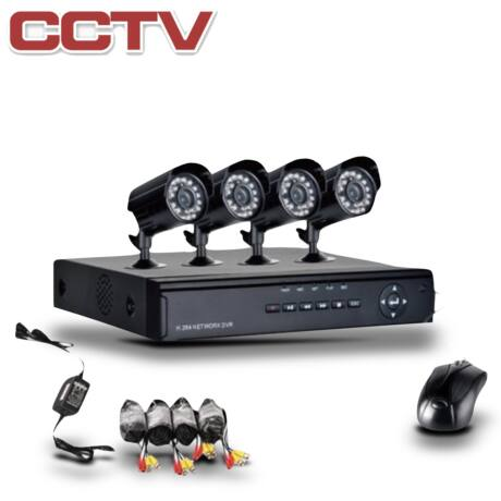 CCTV 4 kamerás megfigyelőrendszer, megfigyelő központtal, kamerákkal