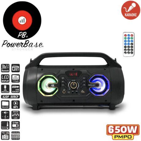 PowerBase PB/PS-0201 650W Bluetooth akkus Karaoke hordozható hangfal LED kijlező, MicroSD, USB, FM rádió