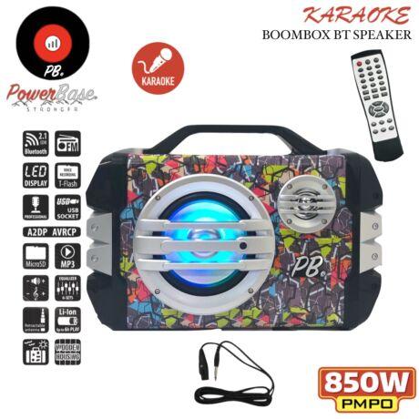 PowerBase PB/PS-0304 850W Bluetooth akkus Karaoke hordozható hangfal LED kijlező, MicroSD, USB, FM rádió