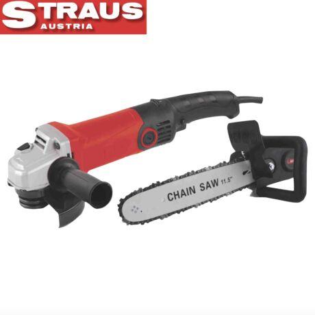 Straus ST/AG125-1200S 2in1 850W 125mm sarokcsiszoló és 11,5'' láncfűrész adapter