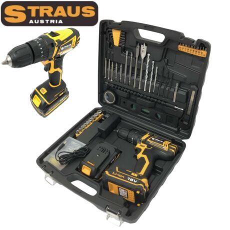 Straus ST/CD18-151 18V-os 150 részes 2 db Li-Ion akkus fúró LED