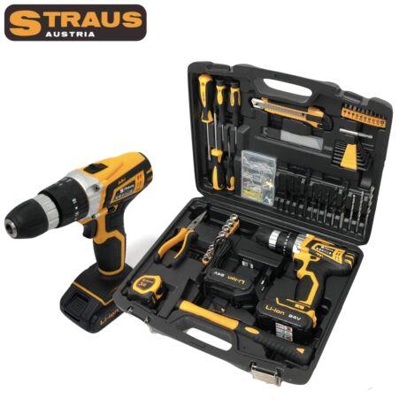 Straus ST/CD24-150 24V-os akkus fúró 2 Li-Ion akkumulátorral, 150 kiegészítővel, LED világítással