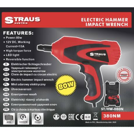 Straus ST/HW-080N elektromos ütvecsavarozó kofferben LED világítással 80W 380NM