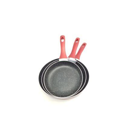 Zürrichberg ZBP2018 DELUXE 3 részes, márvány bevonatú, tapadásmentes, antibakteriális serpenyő  szett szilikon fogantyúval, indukcióshoz laphoz is