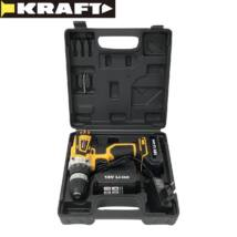 Kraft KF/CDD18-001 18V 2 db li-ion akkumulátoros akkus fúró kofferrel LED világítás