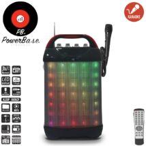 PowerBase PB/PS-0308 850W Bluetooth akkus Karaoke hordozható hangfal vezetékes mikrofonnal LED kijlező, MicroSD, USB, FM rádió