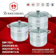 Zürrichberg ZBP7021 extra nagy méretű /9, 11.1, 13.5 literes/, 6 részes fazék szett, üveg fedőkkel, rozsdamentes, minden tűzhelyhez, indukcióshoz is