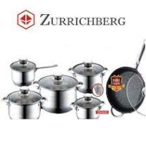 Zürrichberg ZBP8020  12 részes rozsdamentes edénykészlet, márványbevonatos, tapadásmentes serpenyővel, több rétegű szendvicstalppal, indukcióshoz is