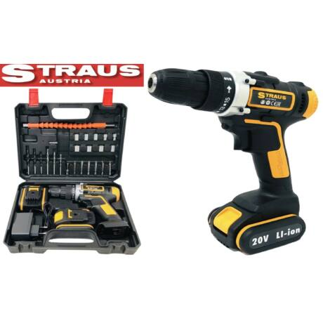 Straus ST/CDD20-098 20V 2 db Li-lon digitális akkus fúró szett kiegészítőkkel