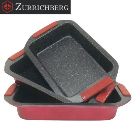 Zürrichberg ZBP2095  3 részes kerámiabevonatú tapadásmentes tepsi készlet szilikon fogantyúval