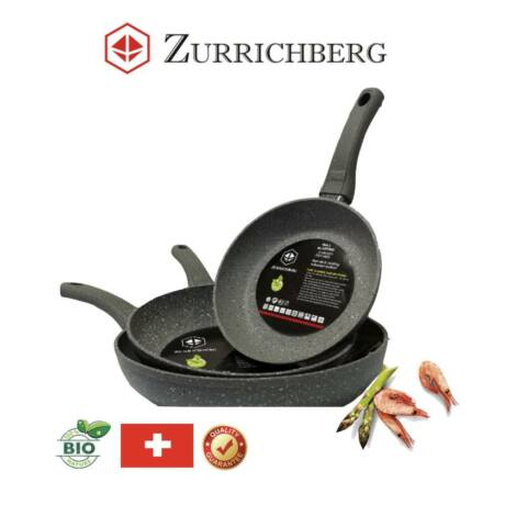 Zürrichberg ZBP7028 tapadásmentes, 3 darabos, márvány bevonatú serpenyő szett,  indukciós laphoz is
