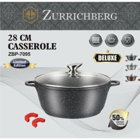 Zürrichberg ZBP7095 28 cm márvány bevonatú fazék szilikon fogantyúval, hőálló üveg fedővel