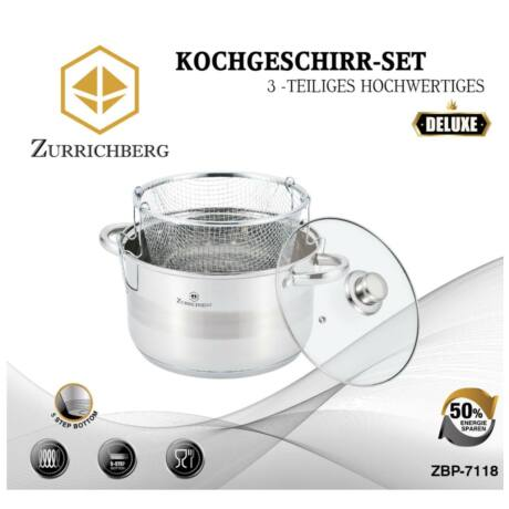 Zürrichberg ZBP7118 3 részes rozsdamentes acél tésztafőző vagy olajsütő edény