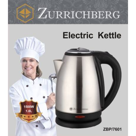 Zürrichberg ZBP7601 elektromos vízforraló, 1,5 literes,  1500 W teljesítménnyel, rejtett fűtőszállal, elegáns inox kivitelben