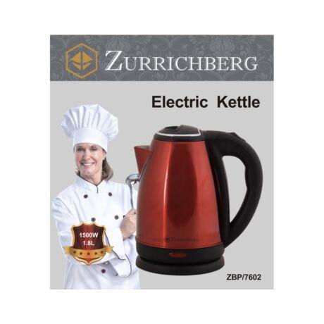 Zürrichberg ZBP7602 elektromos vízforraló, 1,8 literes,  1500 W teljesítménnyel, rejtett fűtőszállal, elegáns inox kivitelben, 2 színben